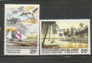COCOS ISLANDS, 51-52, MNH, CHRISTMAS 1979