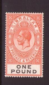 GIBRALTAR 1925 SG107 Red-Orange and black fresh colours, V/L/hinged, Cat. £190