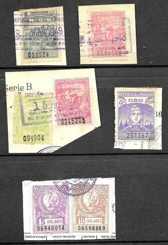 R20 PARAGUAY,OLD REVENUES+CONSULAR STAMPS MIX ON ORIGINAL PAPER,USED