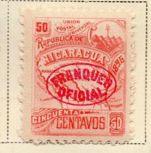 Nicaragua 1896-97 Early Issue Fine Mint Hinged 50c. Official Optd 323753