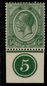 SOUTH AFRICA GV SG3, ½d green, M MINT. CONTROL