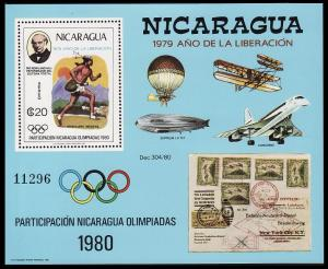 Nicaragua Concorde Moscow Olympics 1980 Zeppelin MS 1980 MNH SG#MS2220