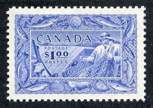Canada SG433 1951 KGVI One Dollar Ultramarine Fisherman M/M