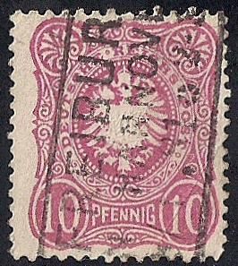 Germany #39 10 PF Super Cancel Imperial Eagle,Rose used F