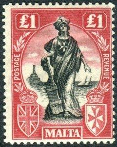 MALTA-1925 £1 Black & Bright Carmine UPRIGHT WMK. A lightly mounted mint  Sg 140