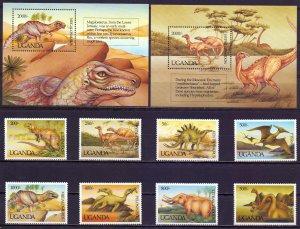 Uganda. 1992. 1064-71, bl161,162. Dinosaurs. MNH.
