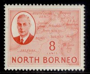 NORTH BORNEO GVI SG361, 8c scarlet, M MINT.