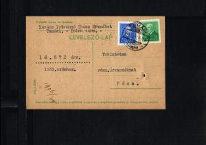 1934 - Hungary Postcard - To Pécs [B07_085]