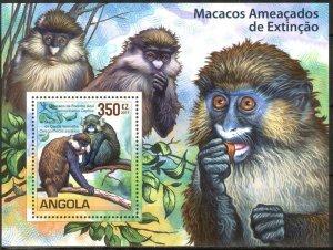 Angola 2011 WWF Monkeys Macaques S/S MNH