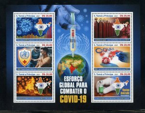 SAO TOME 2021 VACCINATE THE WORLD AGAINST THE PANDEMIC SHEET MINT NEVER HINGED