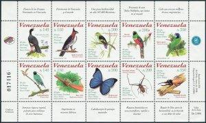 Venezuela 1589 aj sheet,MNH.Mi 3209-3218 klb. Fauna:Birds,Butterflies,Beetles,