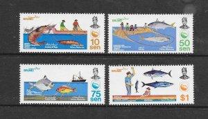 FISH - BRUNEI #300-3  FISHING  MNH