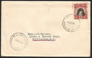 COOK IS 1938 1d Cook on cover, MANIHIKI NZ type cds.......................78219W
