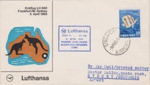 Singapore 20c Butterflyfish 1965 Singapore, Airport-B Lufthansa First Flight ...