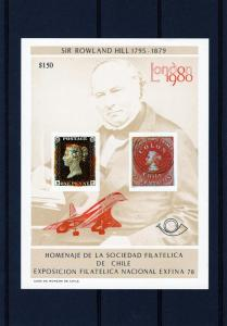 Chile 1980 Concorde/Rowland Hill Souvenir Sheet  Red ovpt.Concorde # C2BA