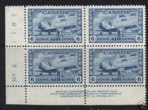 Canada #C7 VF/NH Plate #2 LL Block