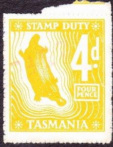 TASMANIA 4d Yellow Stamp Duty Revenue Stamp FU