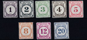 MALAYAN POSTAL UNION  1951 - 63    S G D14 - D21   SET OF 8 POSTAGE DUES   MH
