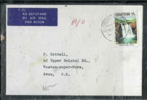 LESOTHO COVER (P3006B)  1973  WATERFALLS 10C ON A/M COVER TO ENGLAND