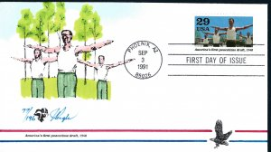 Beautiful Pugh Designed and Painted WWII Peacetime Draf FDC -only 196 created...