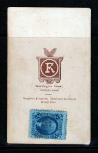 JUMBO 2-cent Proprietary stamp used on  FRANK ROSWELL Photo (Boston)