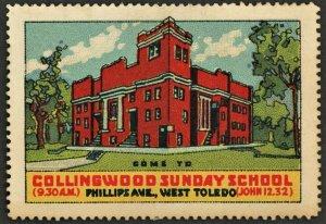 1920s COLLINGWOOD SUNDAY SCHOOL ~ TOLEDO OHIO  USA Advertising Poster Stamp