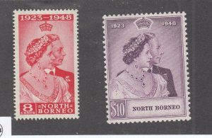 NORTH BORNEO # 238-239 VF-MNH KGV1 1948 SILVER WEDDING (NBB1)