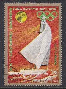 Yemen #297d (Gold border) F-VF used (CTO) Munich Olympic Sailing Yachts