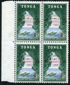 Tonga SG126a 2/- on 3/- Variety Missing fraction Bar in U/M Block of 4