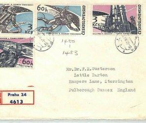 Czechoslovakia Cover SPACE ACHIEVEMENTS Set{4} Air Mail 1965 {samwells}BU114