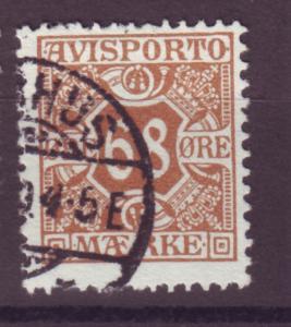 J16641 JLstamps 1907 denmark perf 13 used #p7 newspaper stamp $40.00 scv