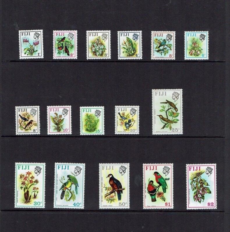 Fiji: 1971 Definitive set, birds, Flowers, MNH