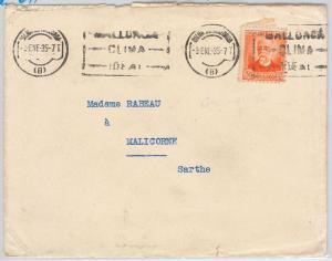 España - HISTORIA POSTAL: Edifil #  671 SOLO sobre CARTA a FRANCE 1935