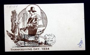 US Postal Card Sc# UX27 USS Pensacola 1934 Thanksgiving Day  Rogers Cachet