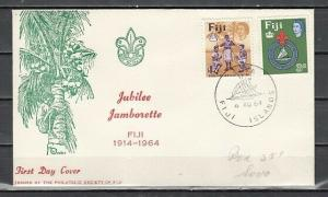 Fiji, Scott cat. 206-207. Scouting 50th Anniversary issue. First day cover.