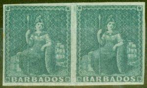 Barbados 1852 (2d) Greyish Slate SG4a Blued Paper Fine Mtd Mint Pair