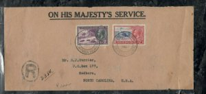 CAYMAN ISLANDS COVER (PP0301B) 1937 KGV 6D TURTLE+1D BIRD R COVER TO USA