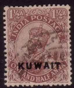 KUWAIT GV ½a opt on India SG3 fine used....................................44962