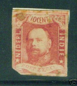 Netherland Indies Scott 1 MH* 1864 imperforate stamp CV $450
