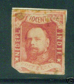 Netherland Indies Scott 1 MH* 1864 imperforate stamp CV $450