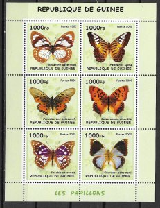 Guinea MNH S/S Butterflies 2002 6 Stamps
