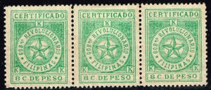 Philippines Stamp  1898-99 Revolutionary Government 8C REGISTRATION STRIP OF 3
