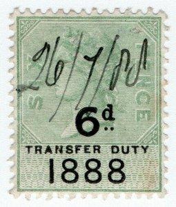 (I.B) QV Revenue : Transfer Duty 6d (1888)