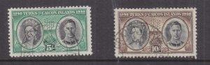 TURKS & CAICOS ISLANDS , 1948 Centenary 5s. & 10s., used.