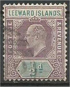 LEEWARD ISLANDS, 1905, used 1/2p, King Edward VII, Scott 29