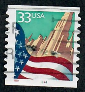 US #3281c Flag over City Used PNC Single plate #4444