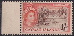 Cayman Islands 1953 - 62 QE2 1/-d Turtles in Crawl MM SG 158 ( K1044 )