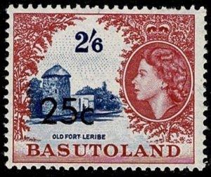 BASUTOLAND QE II 1961 25c-2s6d BLUE & LAKE Ty2 SG66a NH Wmk. MSCA P.13.5 VGC