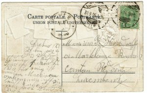 Luxembourg 1906 GPO cancel on Zieher stamp postcard used locally