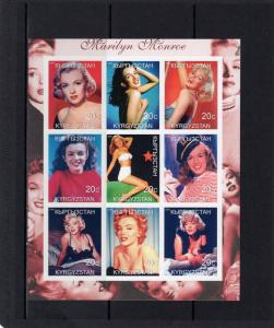 Kyrgyzstan 2000 MARILYN MONROE Early Pictures Sheetlet (9) Imperforated  MNH